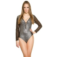 SEXY GLAMOUR BODYSHIRT IN REPTILE-LOOK WITH CHIFFON SILVER/BLACK
