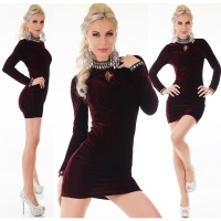 SEXY GLAMOUR MINIDRESS MADE OF VELVET WITH RHINESTONES...