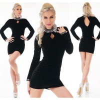SEXY GLAMOUR MINIDRESS MADE OF VELVET WITH RHINESTONES BLACK
