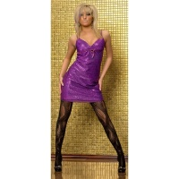 SEXY GLAMOUR MINIDRESS WITH GLITTER VIOLET