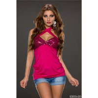 SEXY SEQUINED GLAMOUR HALTERNECK LONG TOP FUCHSIA Onesize (UK 8,10,12)