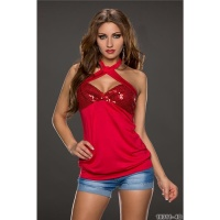 SEXY SEQUINED GLAMOUR HALTERNECK LONG TOP RED