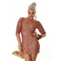 SEXY SEQUINED GLAMOUR EVENING DRESS PARTY DRESS BRONZE