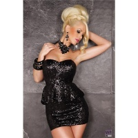 SEXY SEQUINED GLAMOUR MINI DRESS PARTY DRESS BLACK UK 12