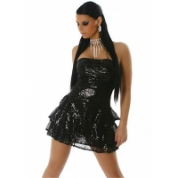 SEQUINED GLAMOUR MINIDRESS BLACK UK 10 (S)