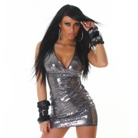SEXY GLAMOUR SEQUINED MINI DRESS PARTY DRESS DARK GREY UK 10 (M)