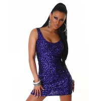 SEXY SEQUINED GLAMOUR MINIDRESS PARTY DRESS PURPLE UK 10/12