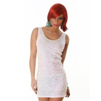 SEXY SEQUINED GLAMOUR MINI DRESS PARTY DRESS PEARL WHITE UK 10/12