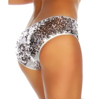 SEXY GLAMOUR PANTY WITH SEQUINS LINGERIE SILVER Onesize (UK 8,10,12)