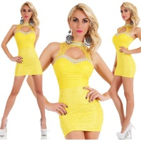 SEXY GLAMOUR PARTY LACE MINIDRESS WITH STONES YELLOW Onesize (UK 8,10,12)