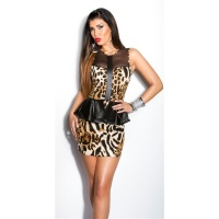 SEXY GLAMOUR EVENING MINI DRESS WITH WET LOOK PEPLUM AND TULLE LEOPARD