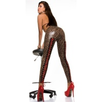 SEXY GLOSSY LEGGINGS WITH LACING WET LOOK CLUBWEAR LEOPARD UK 14/16 (L/XL)