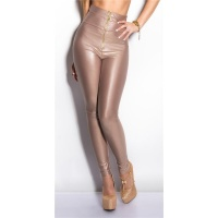 SEXY GLOSSY WET LOOK HIGH-WAISTED LEGGINGS WITH ZIPPER CAPPUCCINO UK 10/12 (S/M)