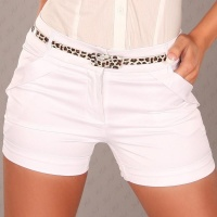 SEXY SHINY SATIN SHORTS HOTPANTS WITH BELT WHITE UK 10