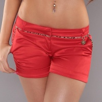 SEXY SHINY SATIN SHORTS HOTPANTS WITH LEO-STRIPES RED