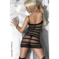 SEXY STRIPPER FISHNET MINIDRESS CLUBBING BLACK Onesize (UK 8,10,12)