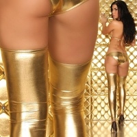 SEXY GOGO OVERKNEE-STULPEN CLUB WETLOOK GOLD