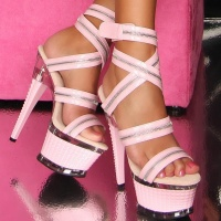 SEXY STRIPPER PLATFORMS HIGH HEELS WITH DECORATIVE ZIP PINK