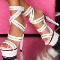 SEXY STRIPPER PLATFORMS HIGH HEELS WITH DECORATIVE ZIP WHITE