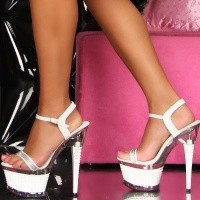SEXY GOGO PLATFORMS HIGH HEELS WHITE
