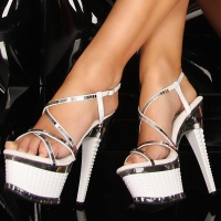 SEXY GOGO PLATFORMS HIGH HEELS WHITE UK 5