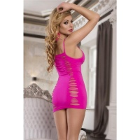 SEXY GOGO STRETCH MINI DRESS WITH CUTS CLUBWEAR NEON-FUCHSIA Onesize (UK 8,10,12)