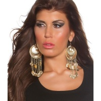 SEXY EARRINGS IN ORIENTAL LOOK FASHION JEWELLERY GOLD