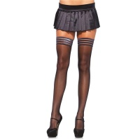 SEXY LEG AVENUE HOLD-UP NYLON STOCKINGS LINGERIE BLACK