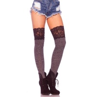 SEXY LEG AVENUE HOLD-UP RIBKNITTED STOCKINGS WITH LACE TOP GREY/BLACK