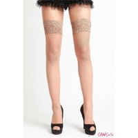 SEXY HOLD-UP FISHNET STOCKINGS WITH LACE EDGE LINGERIE BEIGE