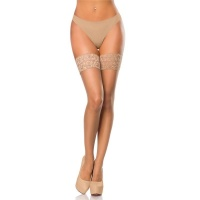 SEXY HOLD-UP NYLON STOCKINGS WITH LACE EDGE NUDE Onesize (UK 8,10,12)