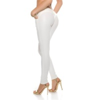 SEXY SKINNY LADIES PANTS IN LEATHER-LOOK WET LOOK WHITE