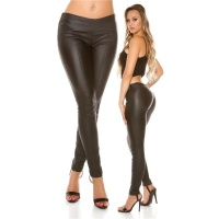 SEXY SKINNY LEATHER LOOK DRAINPIPES TREGGINGS BLACK