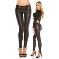 SEXY SKINNY DRAINPIPE PANTS IN LEATHER-LOOK WITH ZIPPERS BLACK