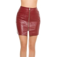 SEXY A-LINE MINISKIRT MADE OF IMITATION LEATHER WINE-RED