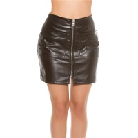 SEXY A-LINE MINISKIRT MADE OF IMITATION LEATHER BLACK