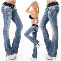 SEXY HIGH-WAISTED BOOTCUT JEANS ACID-WASH INCL. BELT DARK BLUE UK 12 (M)