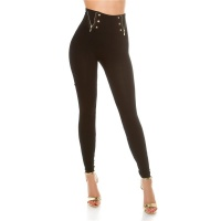 SEXY HIGH-WAISTED LEGGINGS WITH DECORATIVE BUTTONS AND...