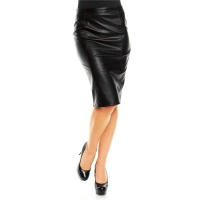 SEXY HIGH-WAISTED SKIRT MADE OF ARTIFICIAL LEATHER WET LOOK BLACK UK 14 (L)
