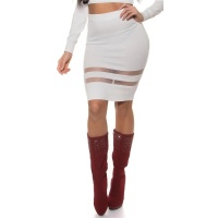 SEXY FINE-KNITTED HIGH WAISTED SKIRT WITH TRANSPARENT...