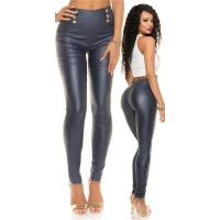 SEXY SKINNY HIGH-WAISTED TREGGINGS PANTS IN LEATHER-LOOK NAVY UK 10 (S)