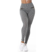 SEXY HIGH-WAISTED LEGGINGS IN TRENDY HOUNDSTOOTH PATTERN...
