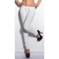 SEXY PANTS IN LEATHER-LOOK WITH LACING AND RIVETS WET LOOK WHITE