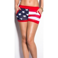 SEXY HOT PANTS SWEAT SHORTS IN US-LOOK GOGO RED