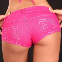 SEXY HOTPANTS JEANS-LOOK WITH ZIPPER GOGO CLUB FUCHSIA UK 10 (M)