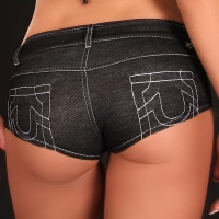 SEXY HOTPANTS JEANS-LOOK MIT ZIPPER GOGO CLUB SCHWARZ 36