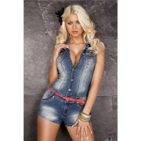 SEXY BLUE WASHED HOTPANTS JEANS-OVERALL JUMPSUIT WITH BELT BLUE UK 14