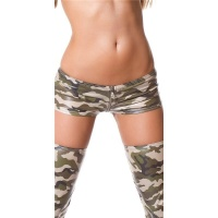 SEXY HOTPANTS WITH ZIPPER ARMY LOOK GOGO CLUBWEAR OLIVE Onesize (UK 8,10,12)