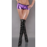 SEXY HOT PANTS WITH RHINESTONES WET LOOK GOGO CLUBWEAR PURPLE