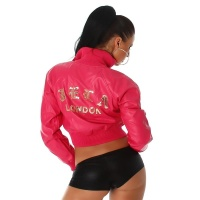 SEXY JACKET IN BLOUSON FORM MADE OF SOFT ARTIFICIAL LEATHER FUCHSIA UK 8